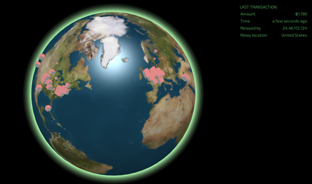 Realtime Bitcoin Globe. Quelle: blocks.wizb.it
