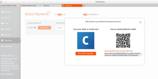 Gute Idee: Man kann die Brave-Wallet mit Debit- bzw. Kreditkarten oder einer Bitcoin-Wallet füttern.