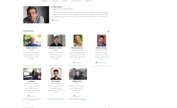 Zooko Wilcox und seine Wissenschaftler. Screenshot der Webseite z.cash