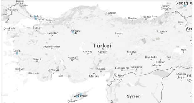 Zwei in Istanbul, einer in Ankara, einer in Ismir und einer in Nord-Zypern: Bitcoin-Knoten sind in der Türkei dünn gesät. Zum Vergleich: In Deutschland gibt es mehr als 900 Knoten. Quelle: Bitnodes.21.co