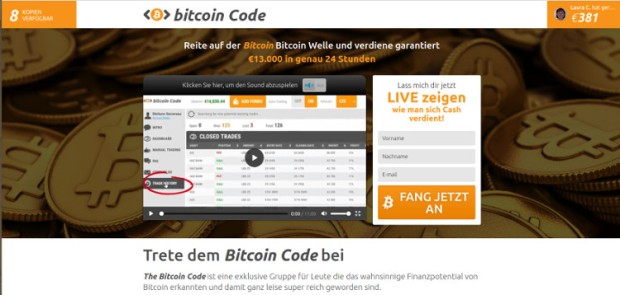 Ob Bitcoin Revoluion, Bitcoin Billionaire oder wie hier Bitcoin Code: Die Verlierer sind immer die User.