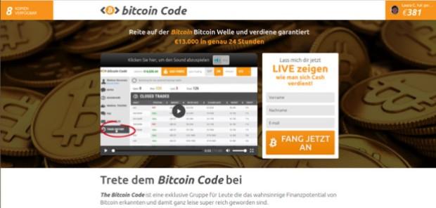 Ob Bitcoin Revoluion, Bitcoin Billionaire oder wie hier Bitcoin Code: Die Verlierer sind immer die Benutzer.