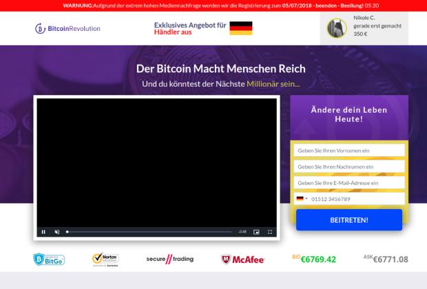 Bitcoin-Revolution. Auch bekannt als Bitcoin Superstar, Bitcoin Billionaire und Bitcoin Profit.