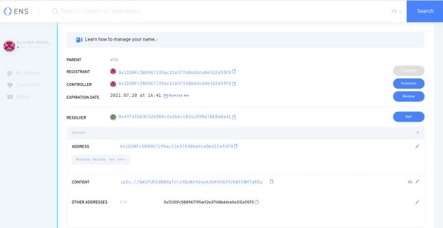 Das Dashboard zum Verwalten der ENS-Domäne auf der Website. Der Eigentümer kann den Eigentümer, den Manager und die Adresse ändern, die hier aufgelöst werden sollen. Er kann Dateien auch über IPFS-Hash hinzufügen.