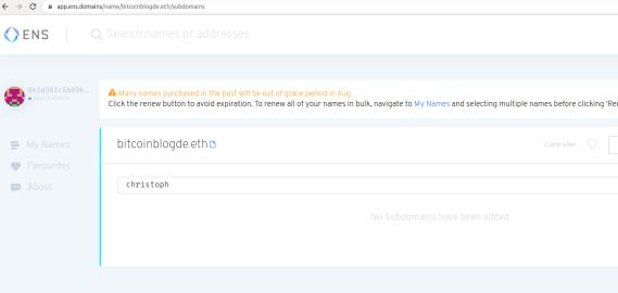 Auf der Webseite von ENS sucht man eine Domain. Die Domain bitcoinblogde.eth gehört mir bereits.
