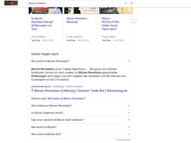 Bitcoin Revolution ist einer der Namen hinter der Höhle des Löwen. Google gibt irreführenden Artikeln zu viel Autorität.