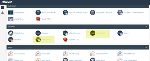 Das Bild zeigt einen Screenshot von cPanel, einer häufig benutzten Software zur Verwaltung von Domains. Geld unterlegt sind die Symbole um Subdomains zu erstellen und die Zone-Records zu verwalten. Diese beiden Menüpunkte sind notwendig, um ein OpenAlias zu erstellen.