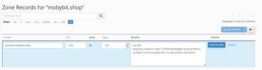 Screenshot aus der Zonendatei-Verwaltung in cPanel, bei dem der User eine neue Zonendatei anlegt, die ein OpenAlias registriert.